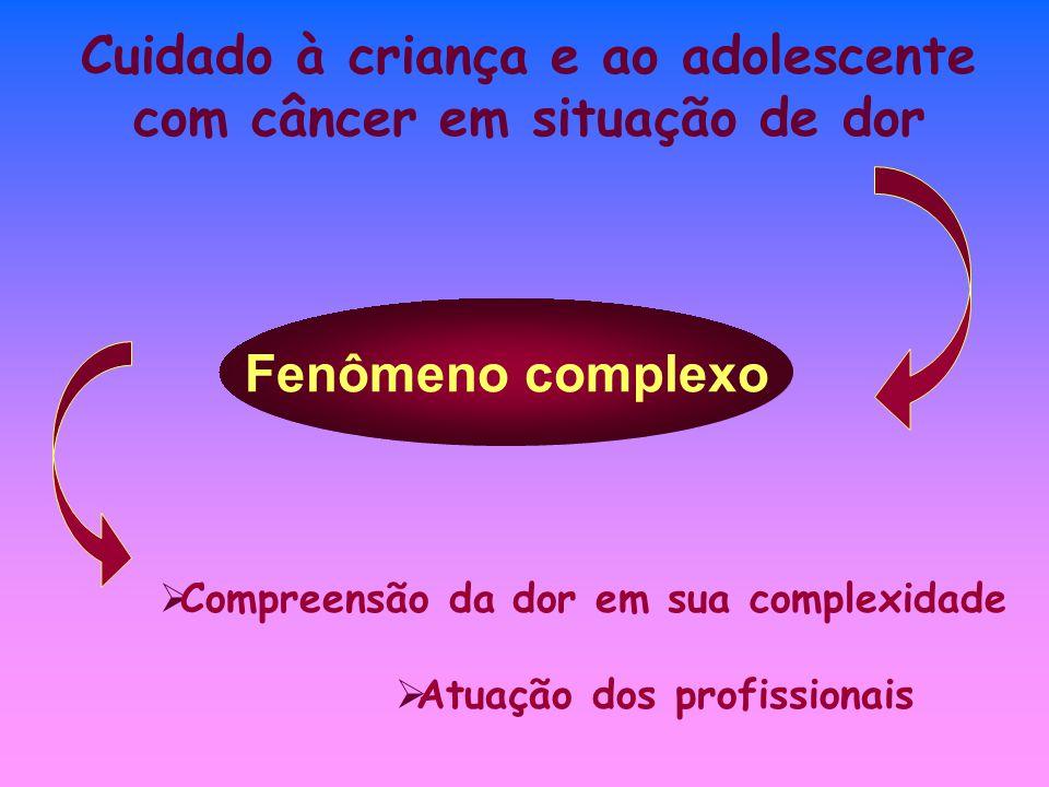 Cuidado à criança e ao adolescente com câncer em situação de dor Fenômeno complexo Atuação dos profissionais Compreensão da dor em sua complexidade