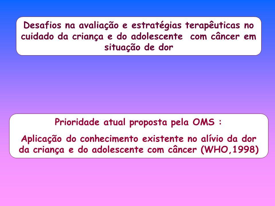 Desafios na avaliação e estratégias terapêuticas no cuidado da criança e do adolescente com câncer em situação de dor Prioridade atual proposta pela O