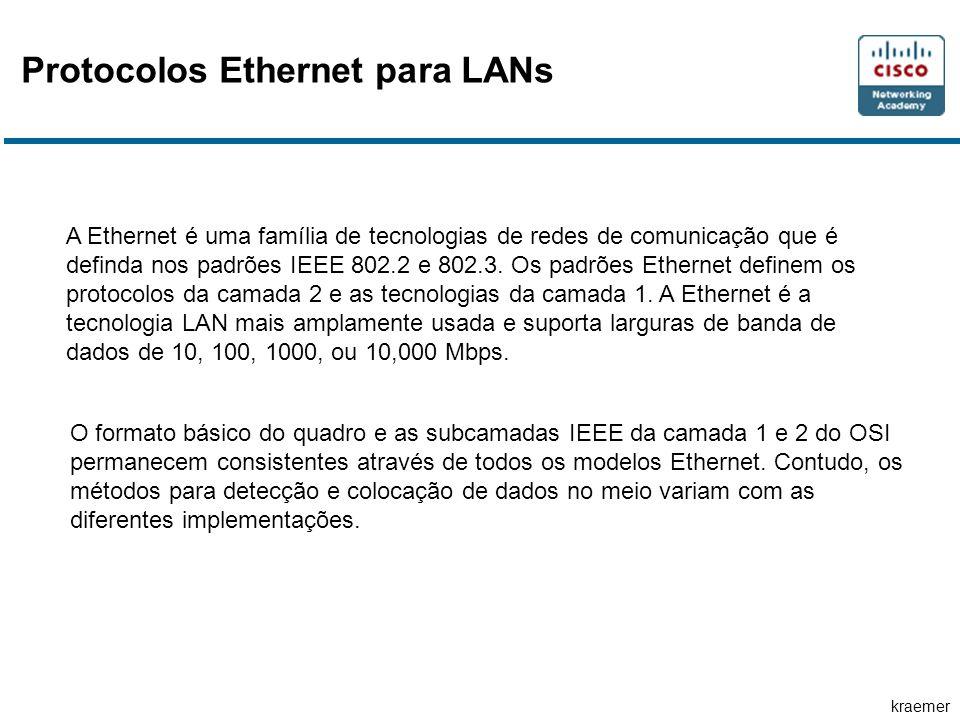 kraemer Protocolos Ethernet para LANs A Ethernet é uma família de tecnologias de redes de comunicação que é definda nos padrões IEEE 802.2 e 802.3. Os