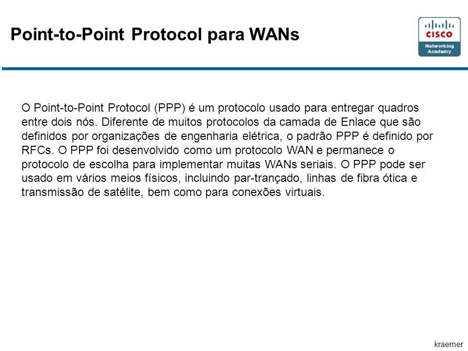 kraemer Point-to-Point Protocol para WANs O Point-to-Point Protocol (PPP) é um protocolo usado para entregar quadros entre dois nós. Diferente de muit