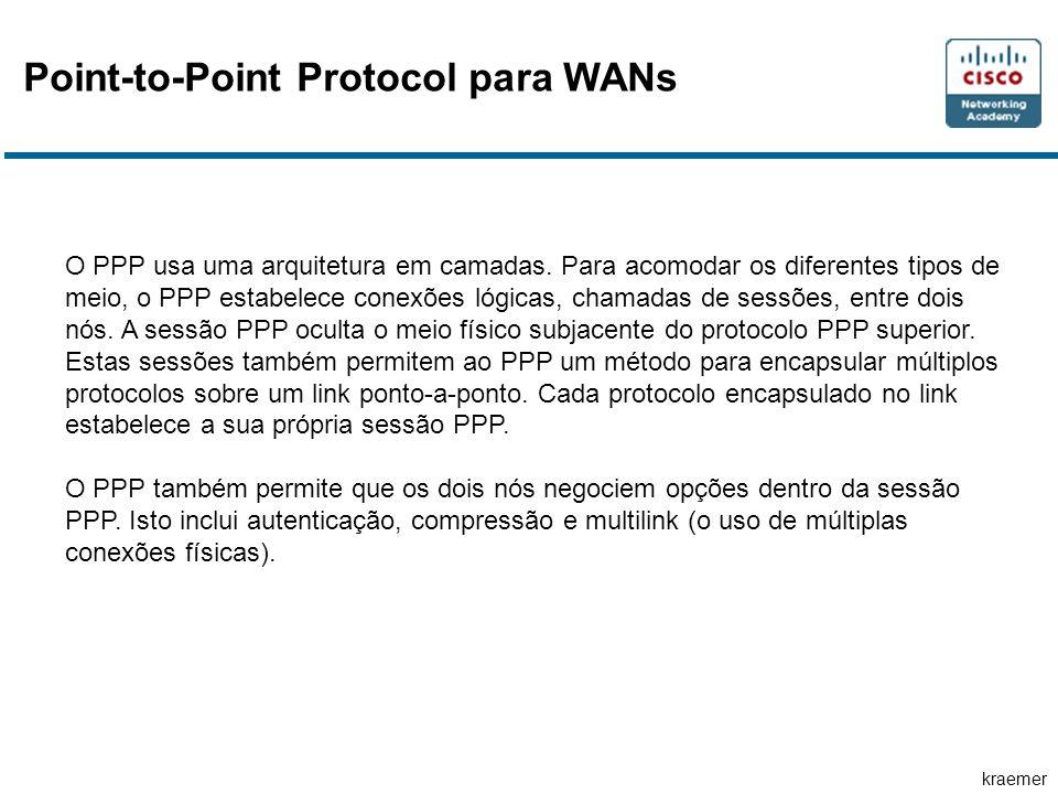 kraemer Point-to-Point Protocol para WANs O PPP usa uma arquitetura em camadas. Para acomodar os diferentes tipos de meio, o PPP estabelece conexões l