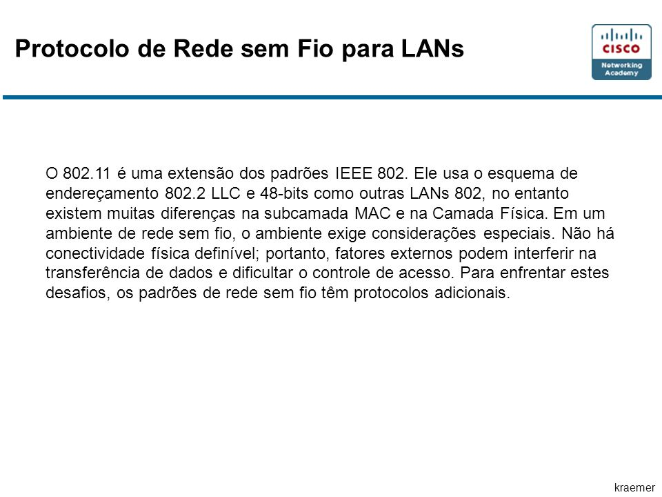 kraemer Protocolo de Rede sem Fio para LANs O 802.11 é uma extensão dos padrões IEEE 802. Ele usa o esquema de endereçamento 802.2 LLC e 48-bits como