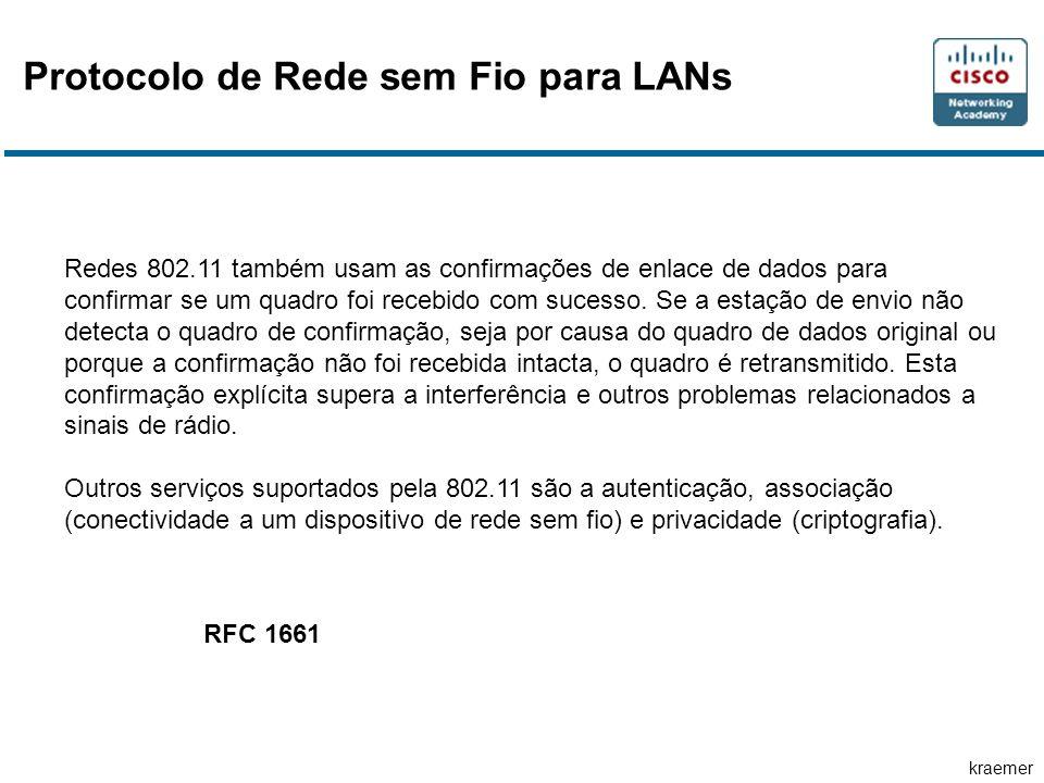 kraemer Protocolo de Rede sem Fio para LANs Redes 802.11 também usam as confirmações de enlace de dados para confirmar se um quadro foi recebido com s