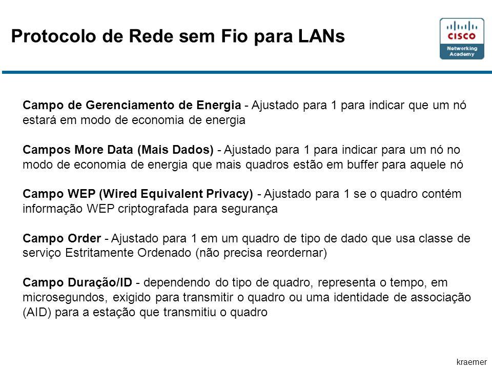 kraemer Protocolo de Rede sem Fio para LANs Campo de Gerenciamento de Energia - Ajustado para 1 para indicar que um nó estará em modo de economia de e