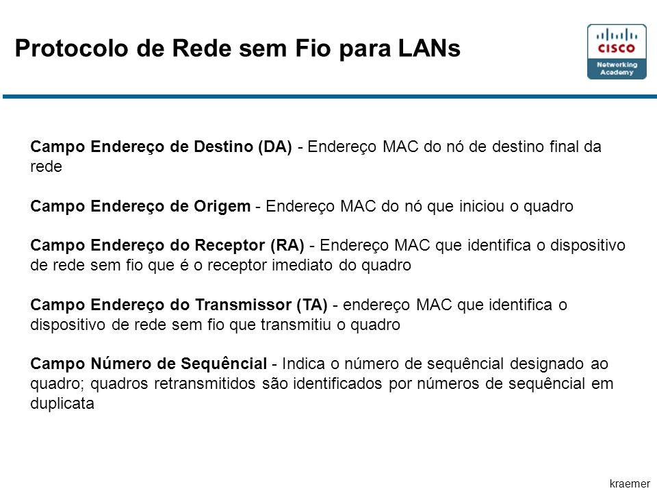 kraemer Protocolo de Rede sem Fio para LANs Campo Endereço de Destino (DA) - Endereço MAC do nó de destino final da rede Campo Endereço de Origem - En