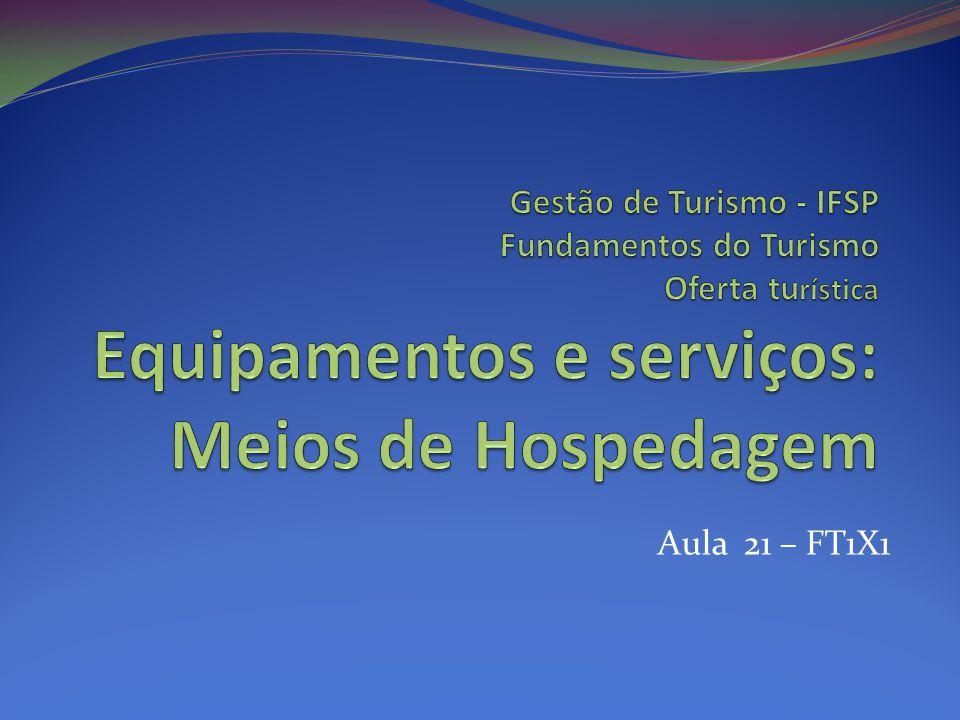 Meios de hospedagem Meio de hospedagem ou acomodação turística: local utilizado pelos turistas para pernoitar.