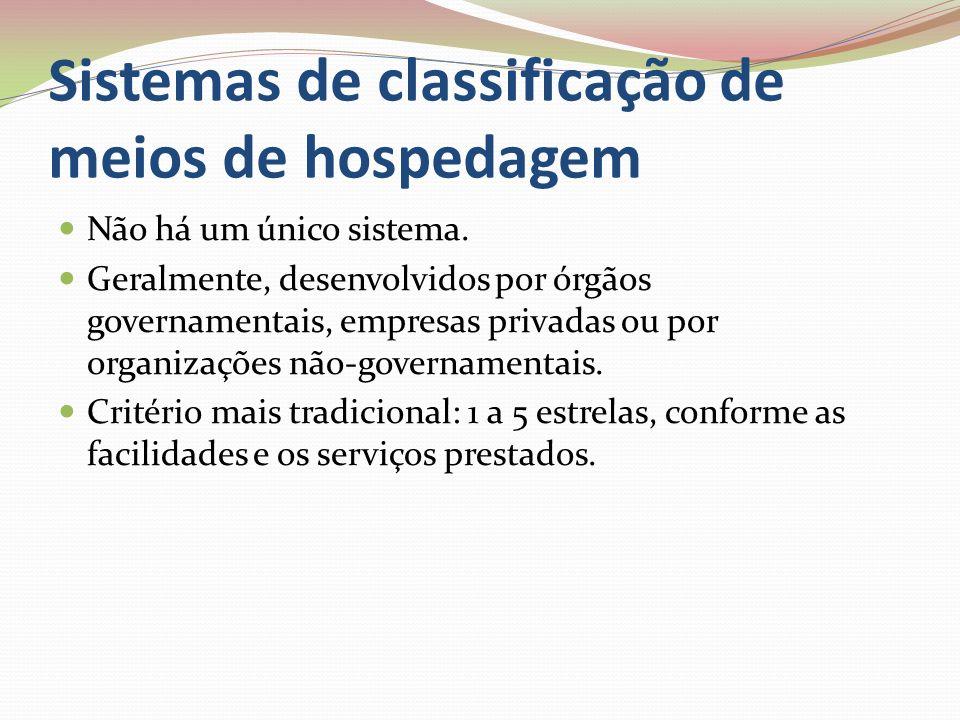 Sistemas de classificação de meios de hospedagem Não há um único sistema.