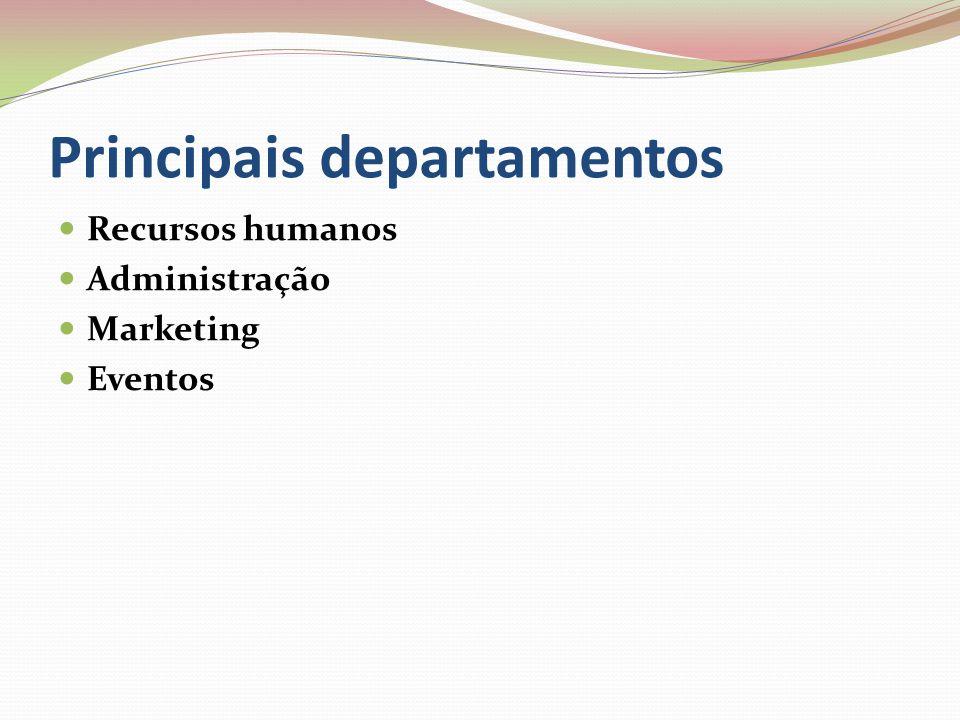 Principais departamentos Recursos humanos Administração Marketing Eventos