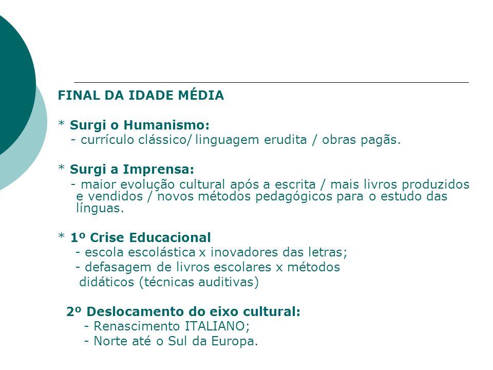 FINAL DA IDADE MÉDIA * Surgi o Humanismo: - currículo clássico/ linguagem erudita / obras pagãs.