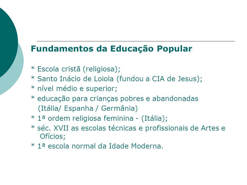 Fundamentos da Educação Popular * Escola cristã (religiosa); * Santo Inácio de Loiola (fundou a CIA de Jesus); * nível médio e superior; * educação para crianças pobres e abandonadas (Itália/ Espanha / Germânia) * 1ª ordem religiosa feminina - (Itália); * séc.