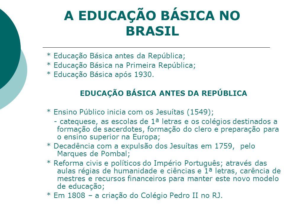 A EDUCAÇÃO BÁSICA NO BRASIL * Educação Básica antes da República; * Educação Básica na Primeira República; * Educação Básica após 1930.