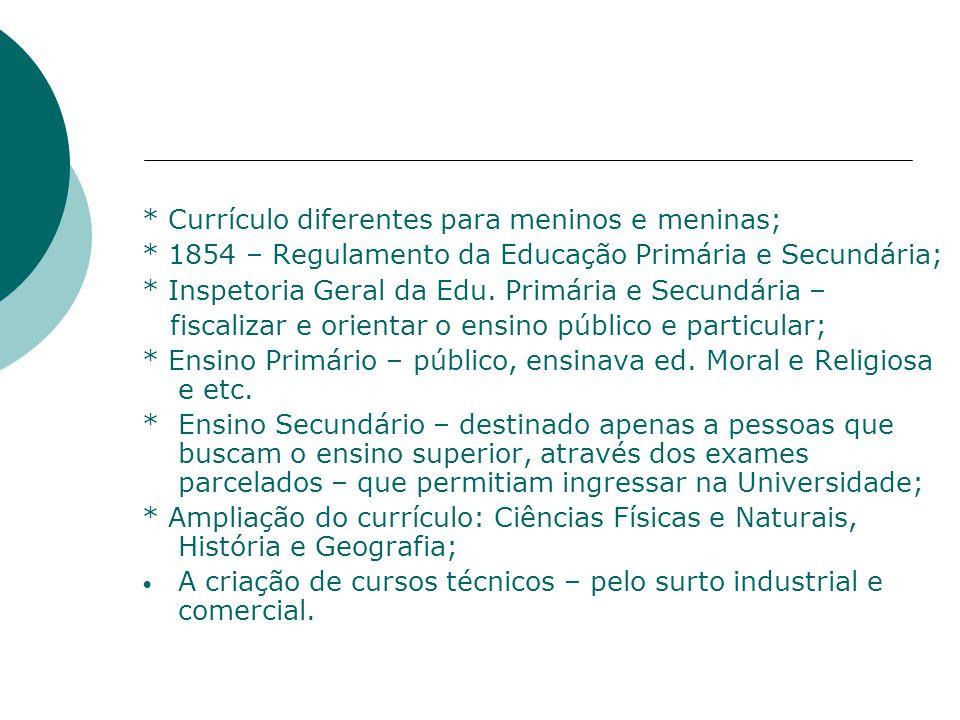 * Currículo diferentes para meninos e meninas; * 1854 – Regulamento da Educação Primária e Secundária; * Inspetoria Geral da Edu.