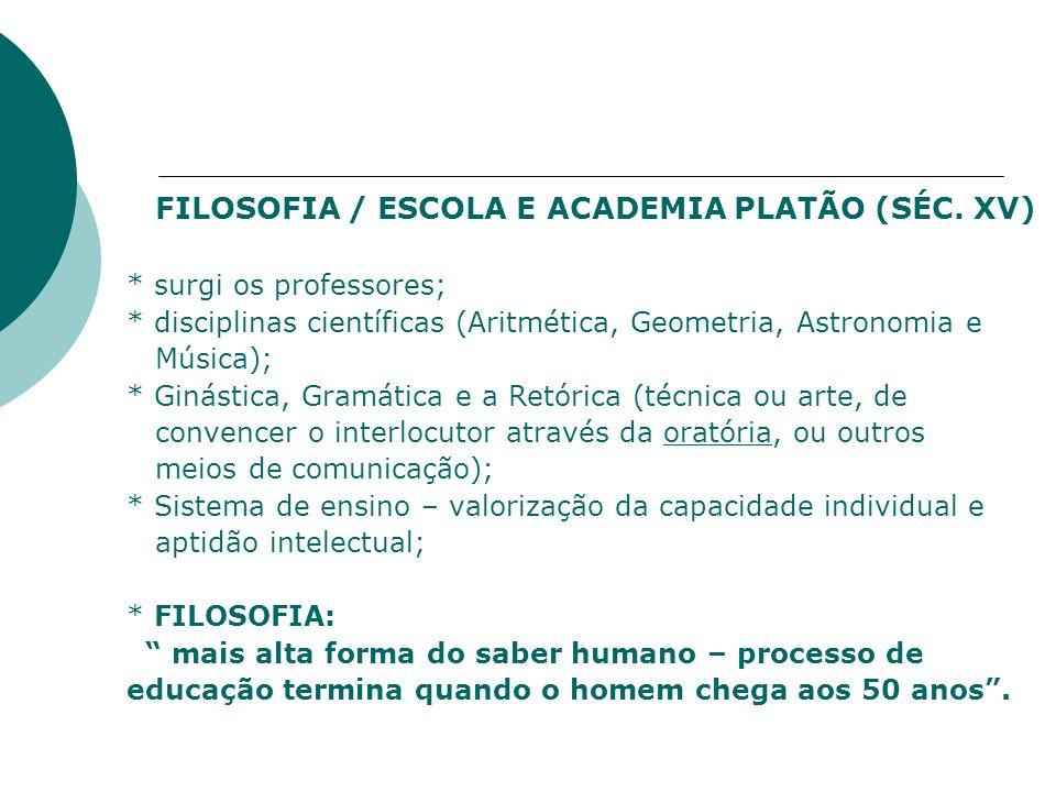 FILOSOFIA / ESCOLA E ACADEMIA PLATÃO (SÉC.