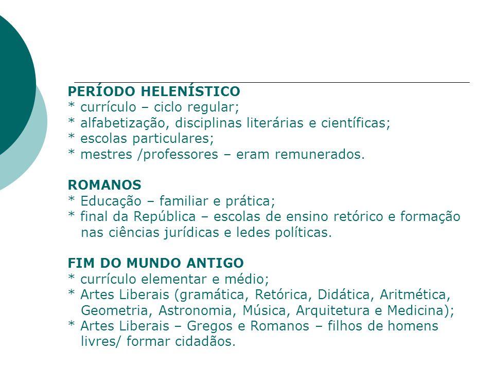 PERÍODO HELENÍSTICO * currículo – ciclo regular; * alfabetização, disciplinas literárias e científicas; * escolas particulares; * mestres /professores – eram remunerados.