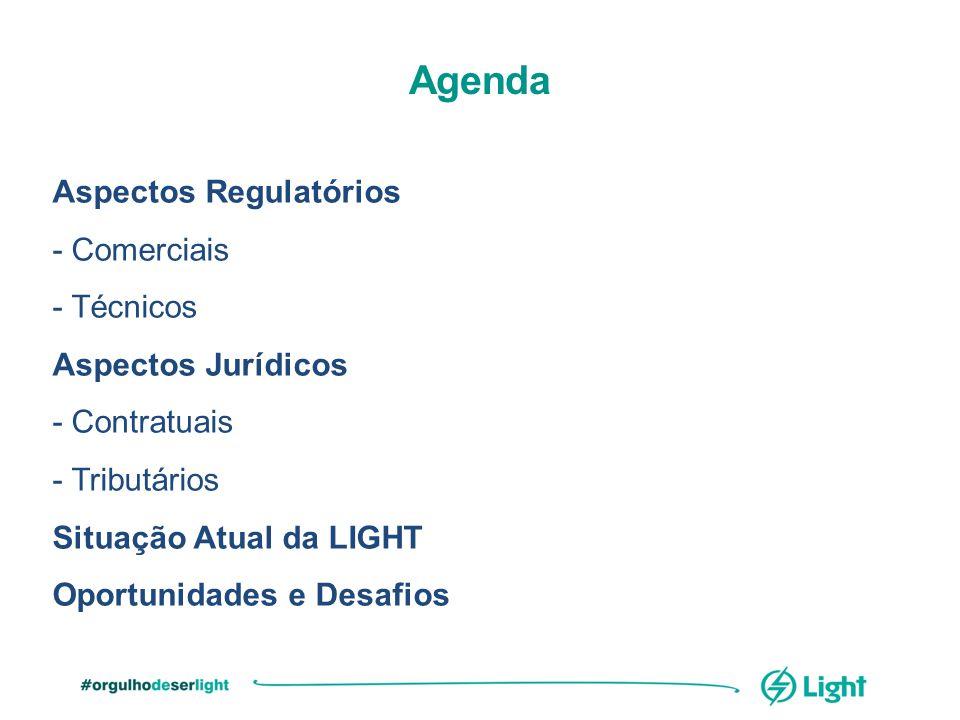 Aspectos Regulatórios - Comerciais - Técnicos Aspectos Jurídicos - Contratuais - Tributários Situação Atual da LIGHT Oportunidades e Desafios Agenda