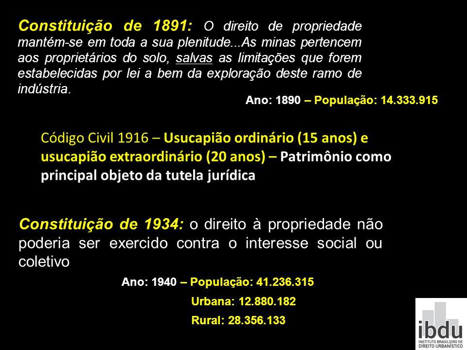 Constituição de 1891: O direito de propriedade mantém-se em toda a sua plenitude...As minas pertencem aos proprietários do solo, salvas as limitações