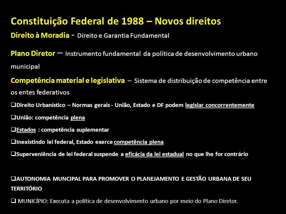 Constituição Federal de 1988 – Novos direitos Direito à Moradia Direito à Moradia - Direito e Garantia Fundamental Plano Diretor – Instrumento fundame