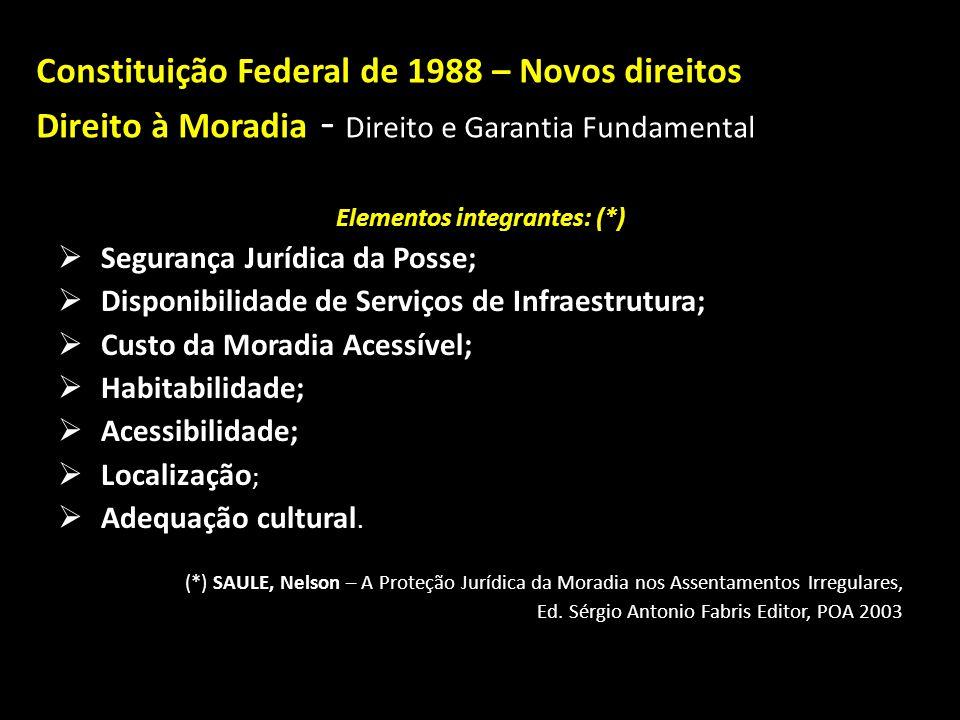 Constituição Federal de 1988 – Novos direitos Direito à Moradia Direito à Moradia - Direito e Garantia Fundamental Incluído na CF pela E.C n º 26/2000