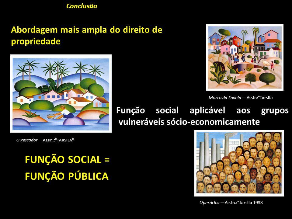 Função social aplicável aos grupos vulneráveis sócio-economicamenteConclusão Abordagem mais ampla do direito de propriedade FUNÇÃO SOCIAL = FUNÇÃO PÚB