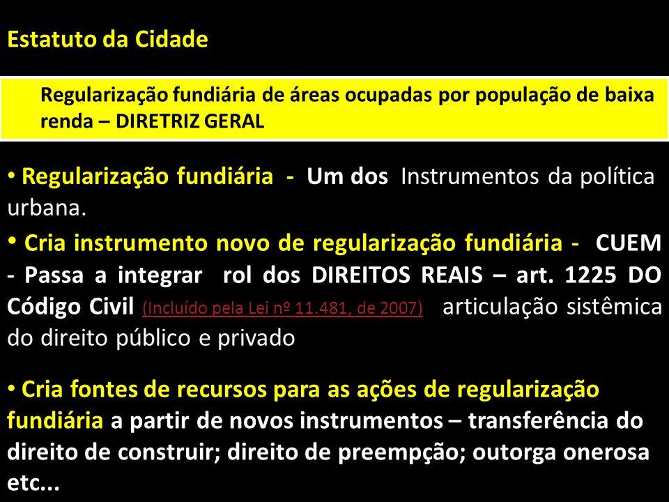Estatuto da Cidade Regularização fundiária de áreas ocupadas por população de baixa renda – DIRETRIZ GERAL Instrumentos da política urbana. Regulariza