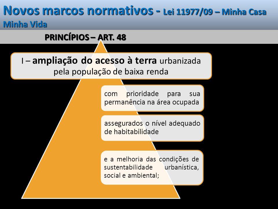 Novos marcos normativos - Lei 11977/09 – Minha Casa Minha Vida PRINCÍPIOS – ART. 48 I – ampliação do acesso à terra urbanizada pela população de baixa