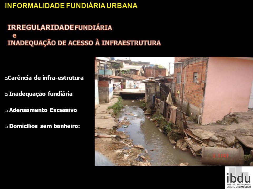 Carência de infra-estrutura Inadequação fundiária Adensamento Excessivo Domicílios sem banheiro: