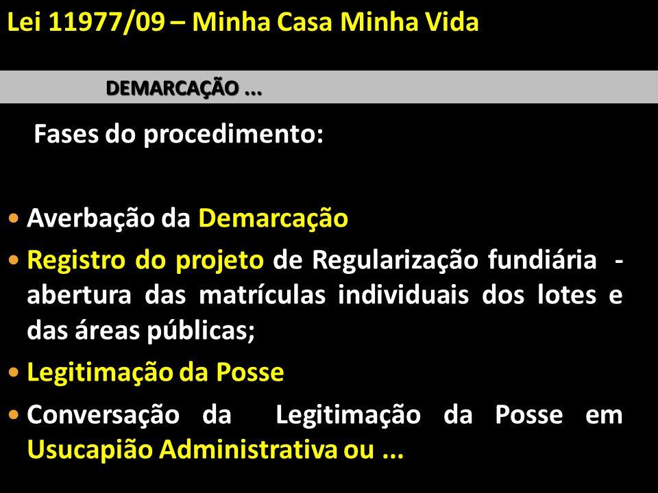 DEMARCAÇÃO... Fases do procedimento: Averbação da Demarcação Registro do projeto de Regularização fundiária - abertura das matrículas individuais dos