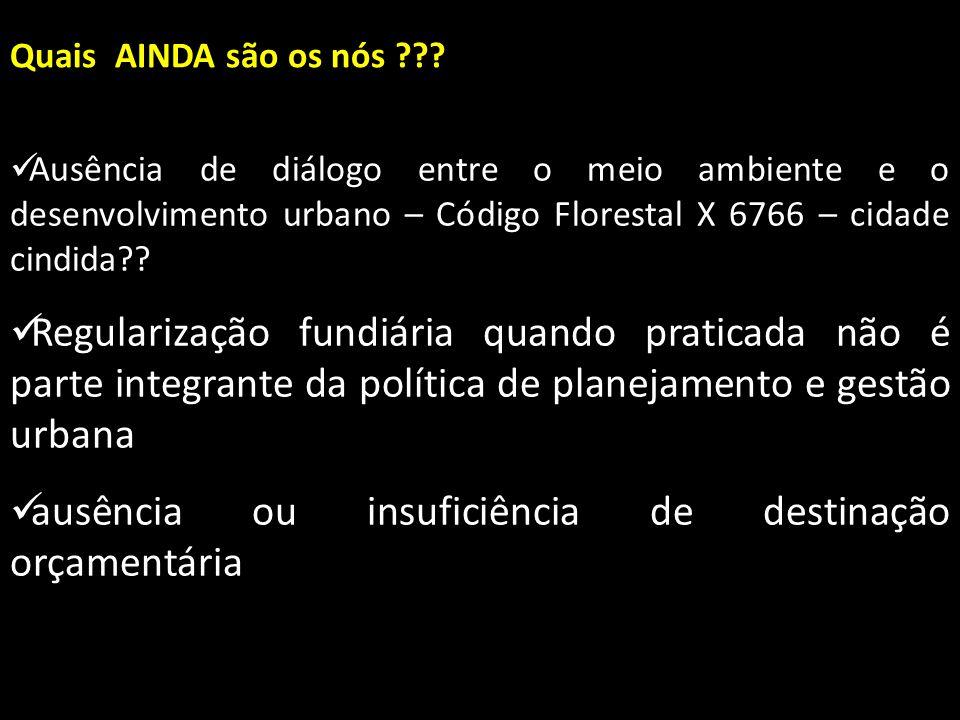 Quais AINDA são os nós ??? Ausência de diálogo entre o meio ambiente e o desenvolvimento urbano – Código Florestal X 6766 – cidade cindida?? Ausência