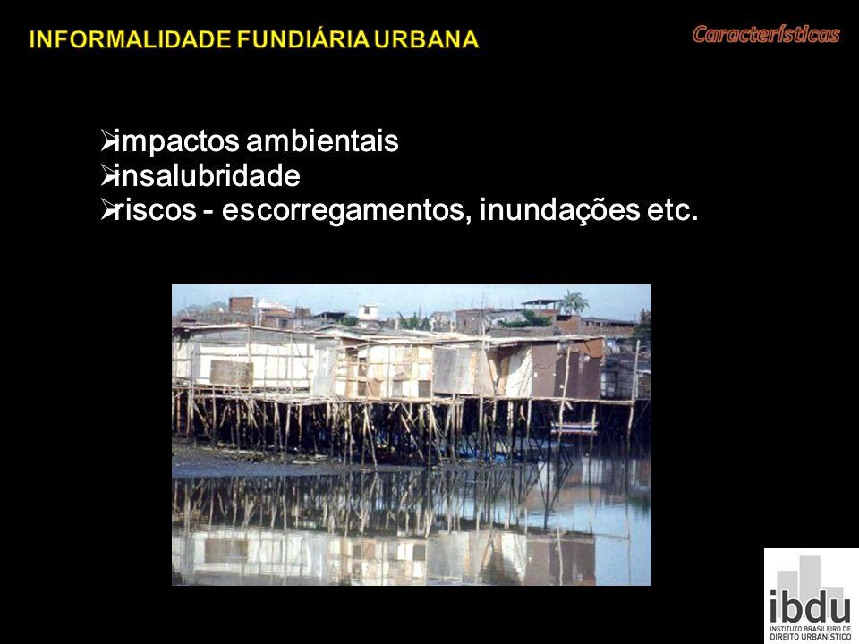 impactos ambientais insalubridade riscos - escorregamentos, inundações etc.