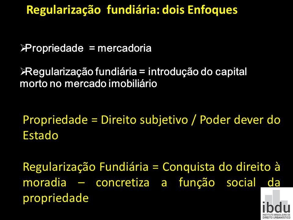 Propriedade = mercadoria Regularização fundiária = introdução do capital morto no mercado imobiliário Regularização fundiária: dois Enfoques Proprieda