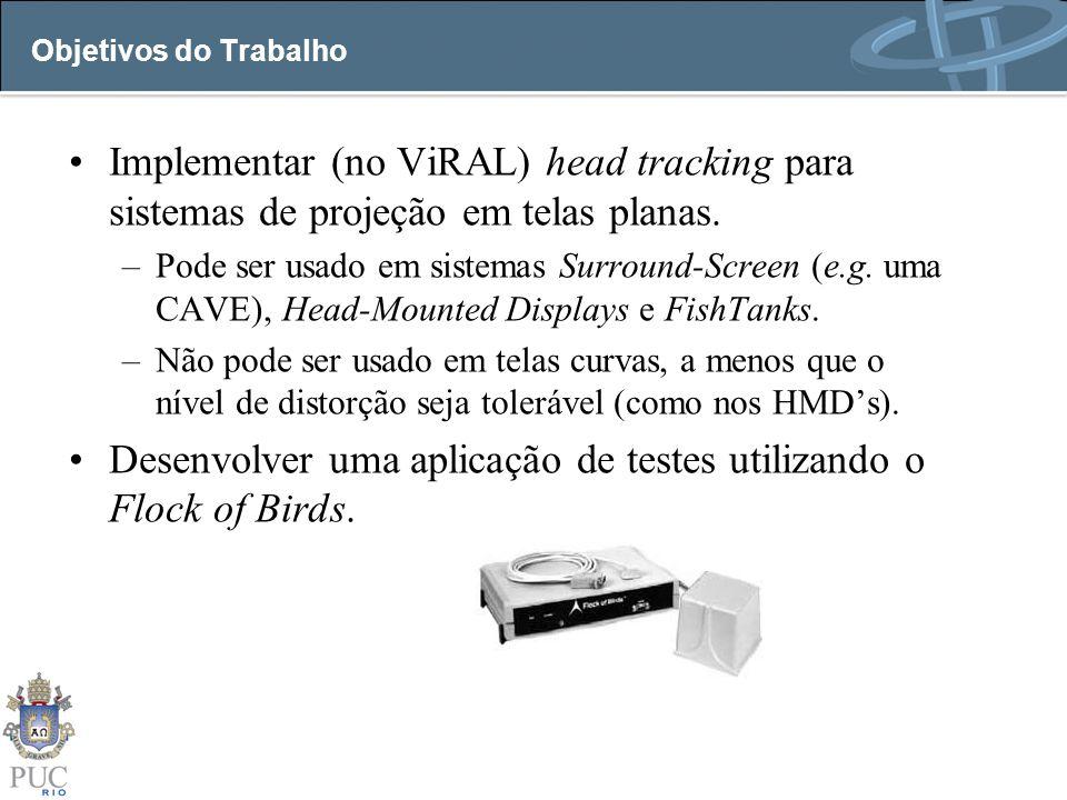 Objetivos do Trabalho Implementar (no ViRAL) head tracking para sistemas de projeção em telas planas. –Pode ser usado em sistemas Surround-Screen (e.g