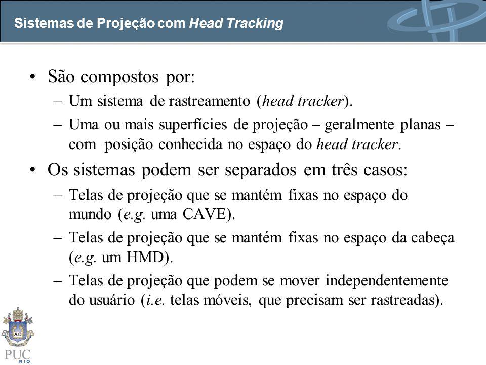 Sistemas de Projeção com Head Tracking São compostos por: –Um sistema de rastreamento (head tracker). –Uma ou mais superfícies de projeção – geralment