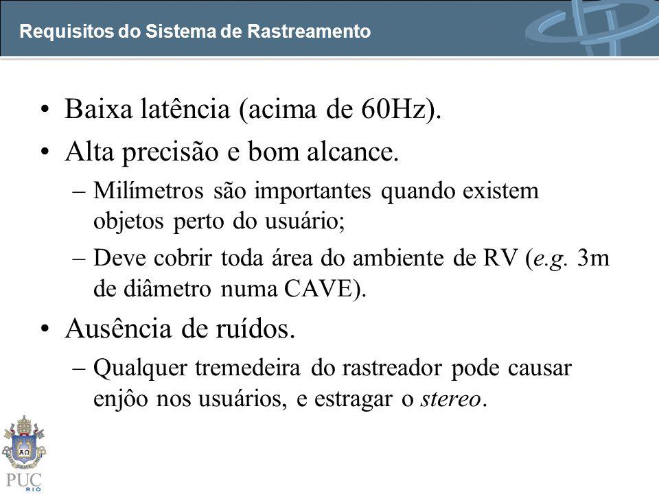 Requisitos do Sistema de Rastreamento Baixa latência (acima de 60Hz). Alta precisão e bom alcance. –Milímetros são importantes quando existem objetos