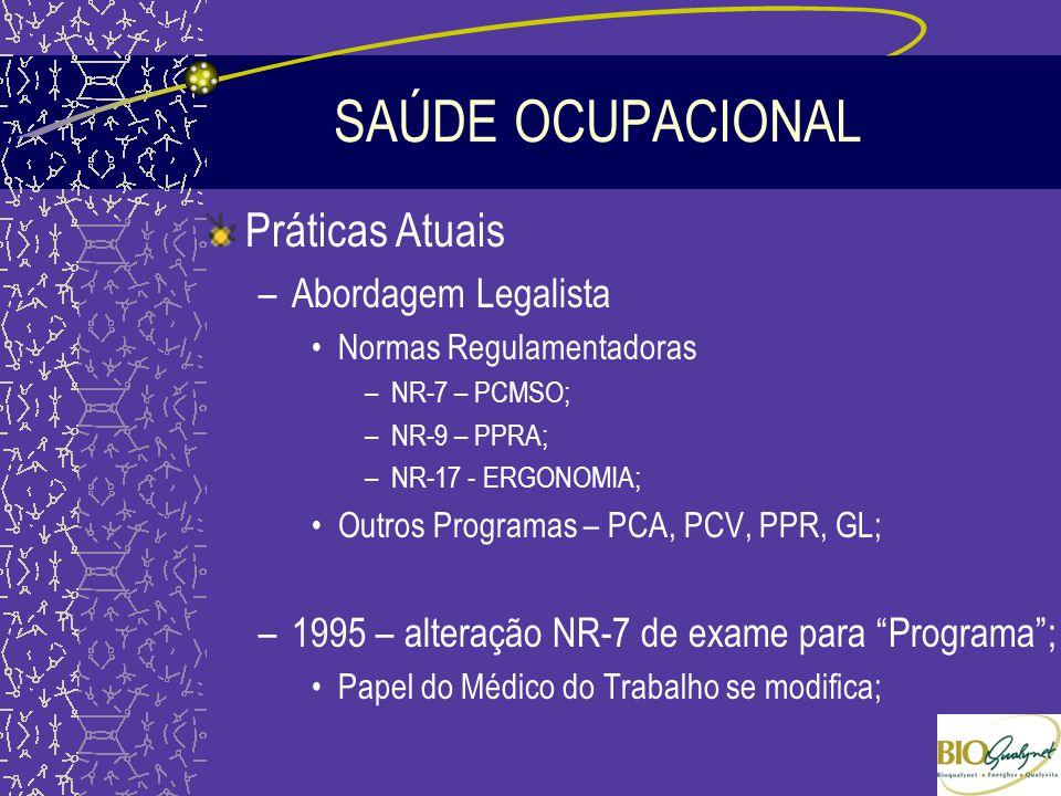 SAÚDE OCUPACIONAL Práticas Atuais –Abordagem Legalista Normas Regulamentadoras –NR-7 – PCMSO; –NR-9 – PPRA; –NR-17 - ERGONOMIA; Outros Programas – PCA