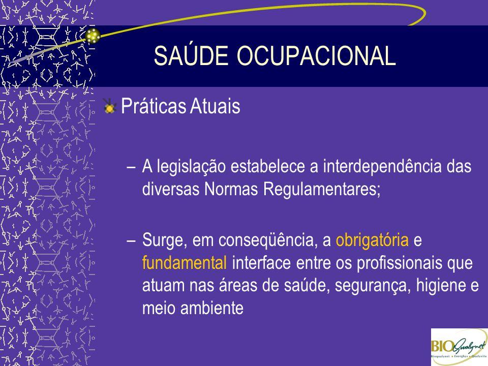 SAÚDE OCUPACIONAL Práticas Atuais –A legislação estabelece a interdependência das diversas Normas Regulamentares; –Surge, em conseqüência, a obrigatór