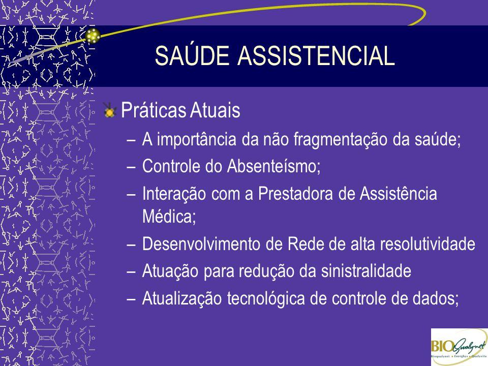 SAÚDE ASSISTENCIAL Práticas Atuais –A importância da não fragmentação da saúde; –Controle do Absenteísmo; –Interação com a Prestadora de Assistência M