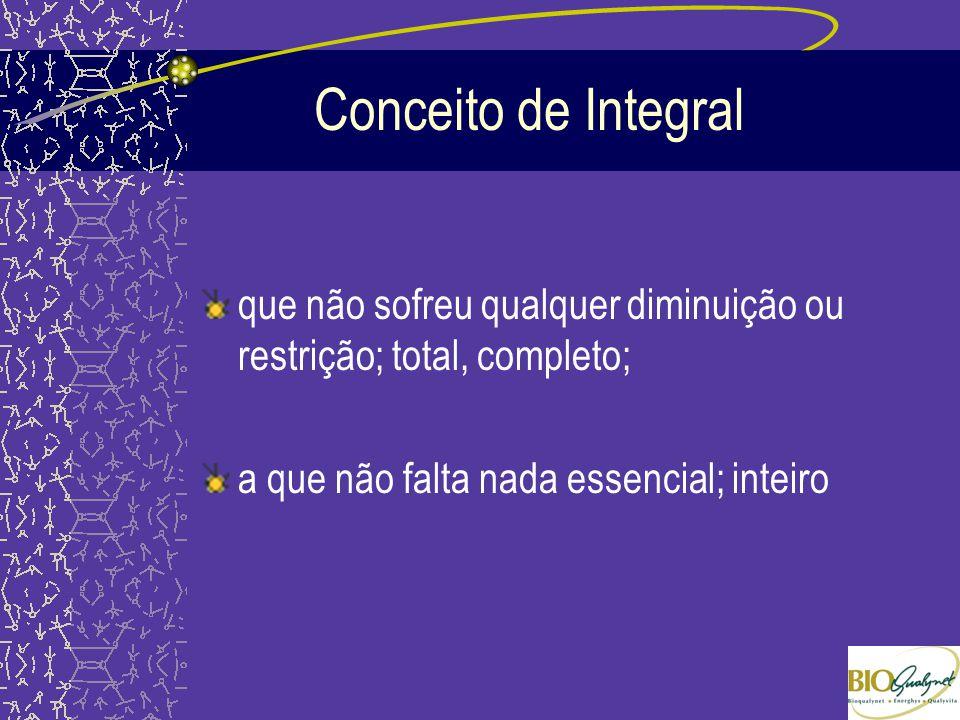 Conceito de Integral que não sofreu qualquer diminuição ou restrição; total, completo; a que não falta nada essencial; inteiro