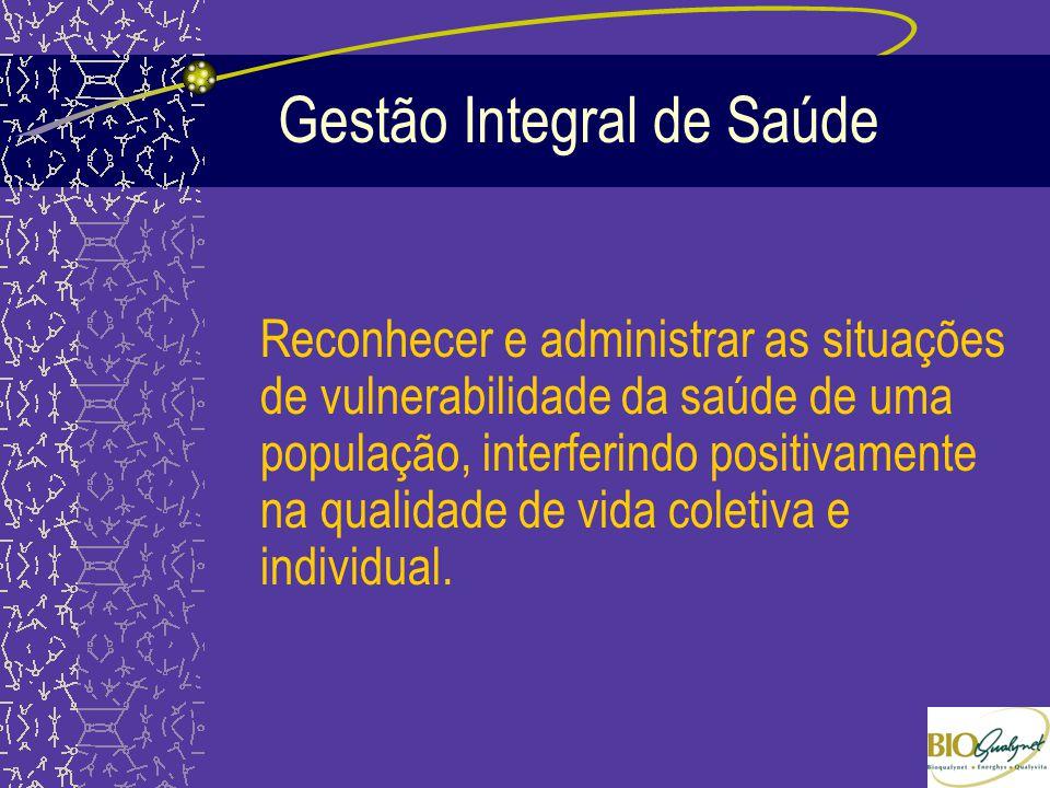 Gestão Integral de Saúde Reconhecer e administrar as situações de vulnerabilidade da saúde de uma população, interferindo positivamente na qualidade d