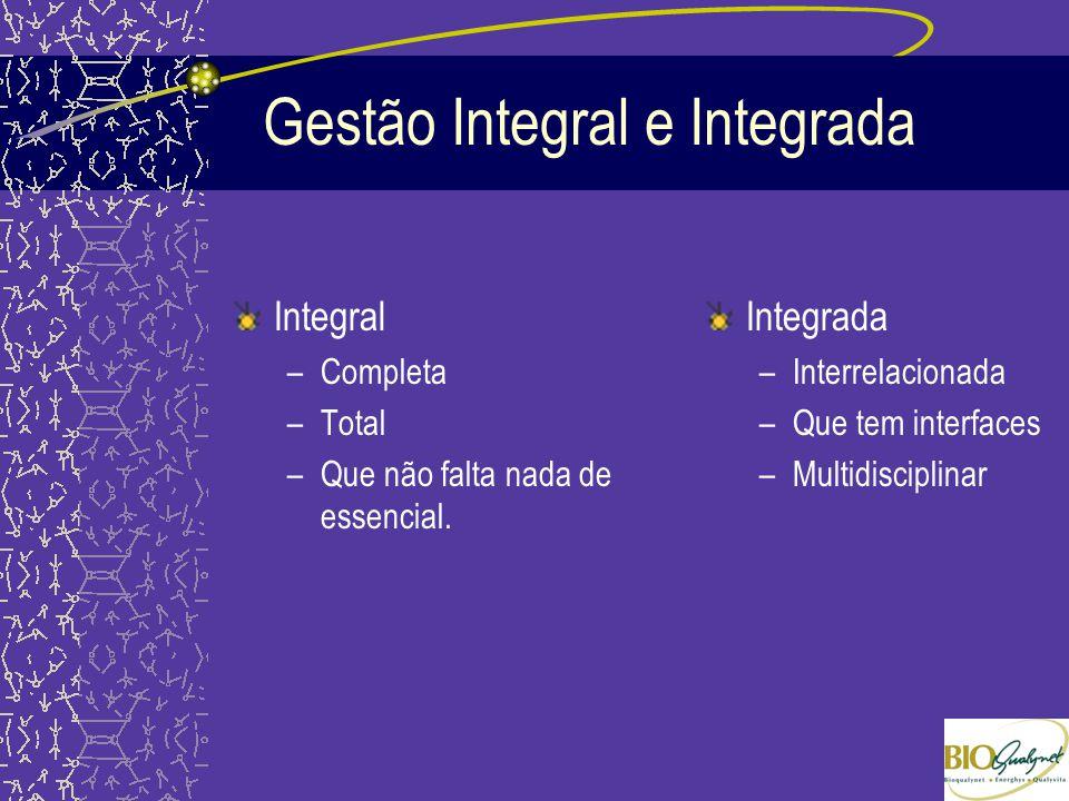 Gestão Integral e Integrada Integral –Completa –Total –Que não falta nada de essencial. Integrada –Interrelacionada –Que tem interfaces –Multidiscipli