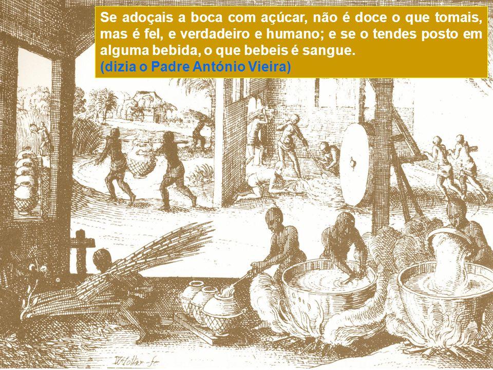 No Novo Mundo a solução encontrada para fazer funcionar os engenhos de açúcar foi o transporte maciço de escravos da costa africana, sendo muitas veze