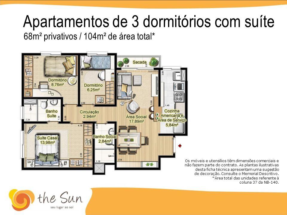 Apartamentos de 3 dormitórios com suíte 68m² privativos / 104m² de área total* Os móveis e utensílios têm dimensões comerciais e não fazem parte do co