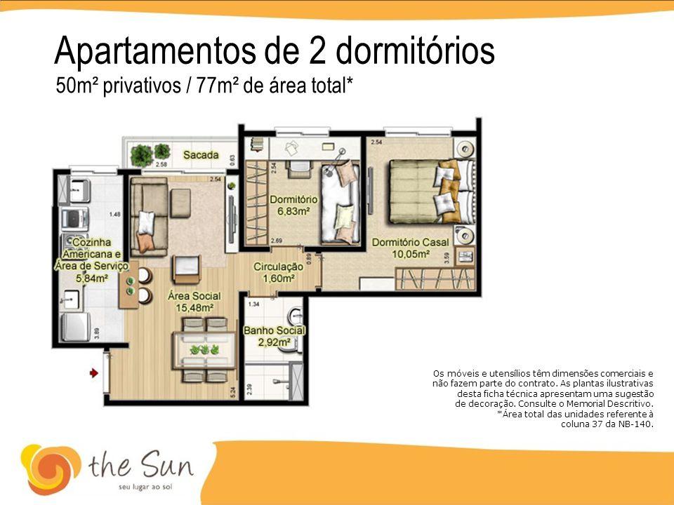 Apartamentos de 2 dormitórios 50m² privativos / 77m² de área total* Os móveis e utensílios têm dimensões comerciais e não fazem parte do contrato. As