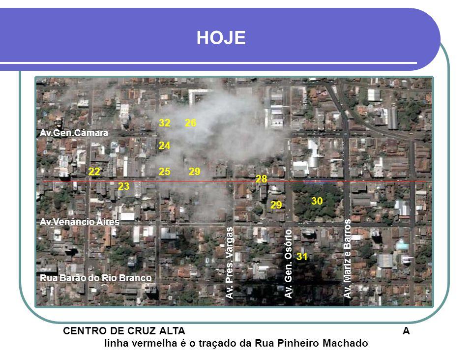 HOJE 30 29 24 25 23 22 26 31 32 CENTRO DE CRUZ ALTA A linha vermelha é o traçado da Rua Pinheiro Machado Av.Venâncio Aires Av.Gen.Câmara Rua Barão do Rio Branco 29 28 Av.