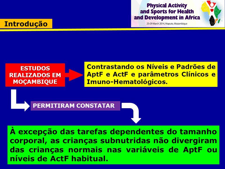 Contrastando os Níveis e Padrões de AptF e ActF e parâmetros Clínicos e Imuno-Hematológicos. ESTUDOS REALIZADOS EM MOÇAMBIQUE À excepção das tarefas d