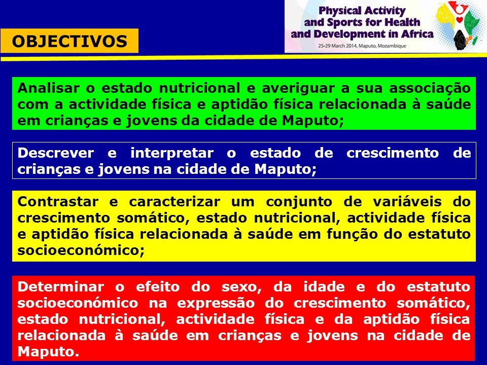 Descrever e interpretar o estado de crescimento de crianças e jovens na cidade de Maputo; Analisar o estado nutricional e averiguar a sua associação c