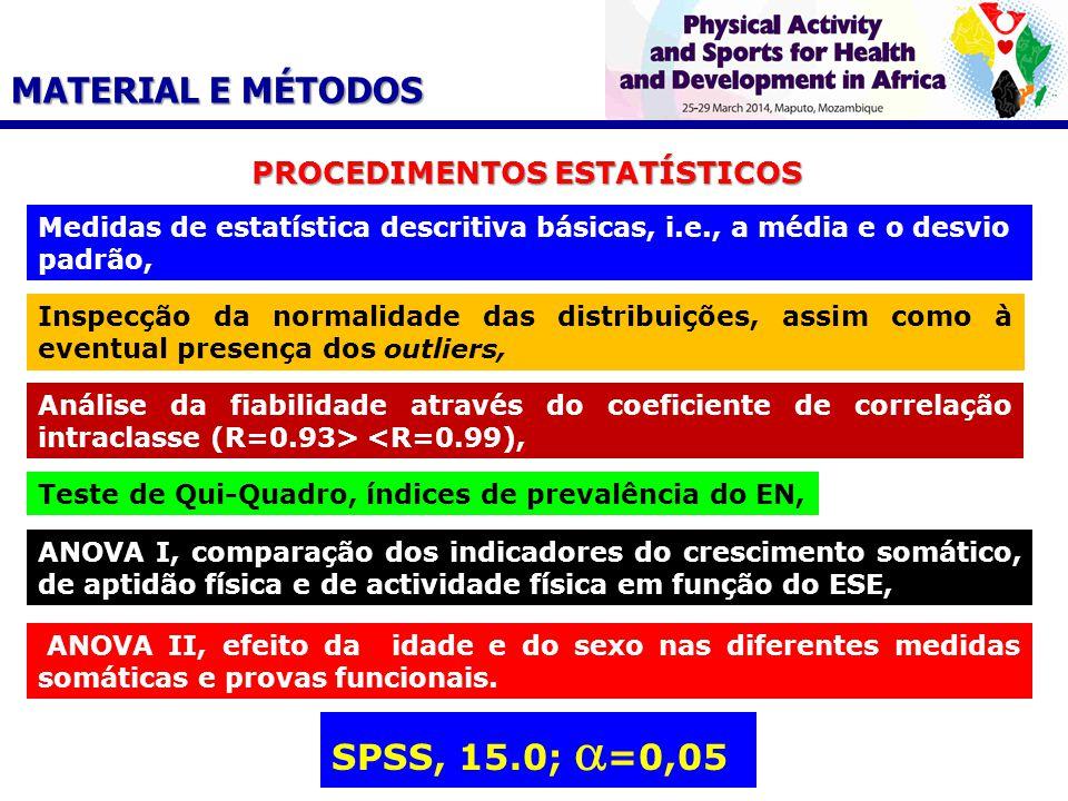 PROCEDIMENTOS ESTATÍSTICOS Medidas de estatística descritiva básicas, i.e., a média e o desvio padrão, Inspecção da normalidade das distribuições, assim como à eventual presença dos outliers, Análise da fiabilidade através do coeficiente de correlação intraclasse (R=0.93> <R=0.99), Teste de Qui-Quadro, índices de prevalência do EN, ANOVA I, comparação dos indicadores do crescimento somático, de aptidão física e de actividade física em função do ESE, ANOVA II, efeito da idade e do sexo nas diferentes medidas somáticas e provas funcionais.