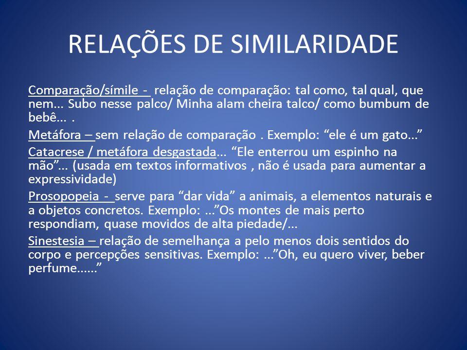 RELAÇÕES DE SIMILARIDADE Comparação/símile - relação de comparação: tal como, tal qual, que nem...