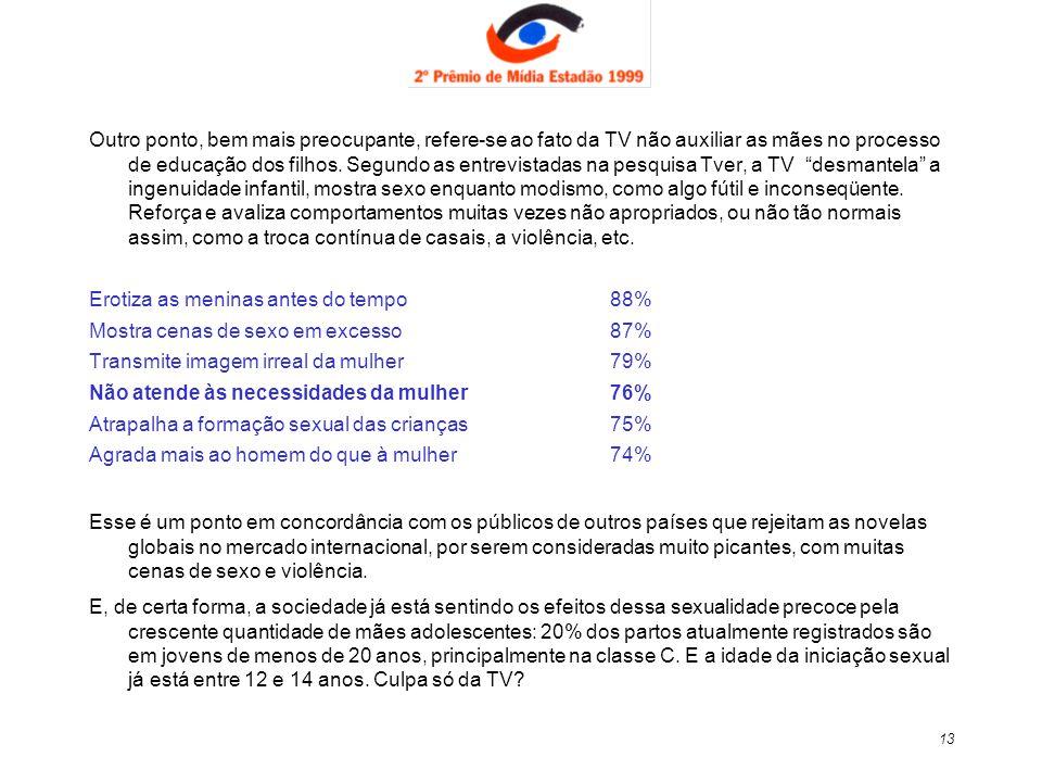 13 Outro ponto, bem mais preocupante, refere-se ao fato da TV não auxiliar as mães no processo de educação dos filhos. Segundo as entrevistadas na pes