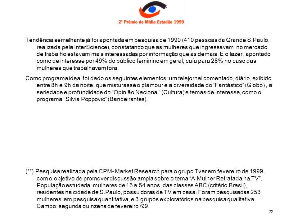 22 Tendência semelhante já foi apontada em pesquisa de 1990 (410 pessoas da Grande S.Paulo, realizada pela InterScience), constatando que as mulheres