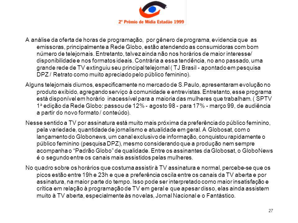 27 A análise da oferta de horas de programação, por gênero de programa, evidencia que as emissoras, principalmente a Rede Globo, estão atendendo as co
